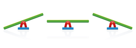 Seesaw - colored balance toy set - three positions, balanced and unbalanced, equal and unequal weightiness - isolated vector illustration on white background. 矢量图像