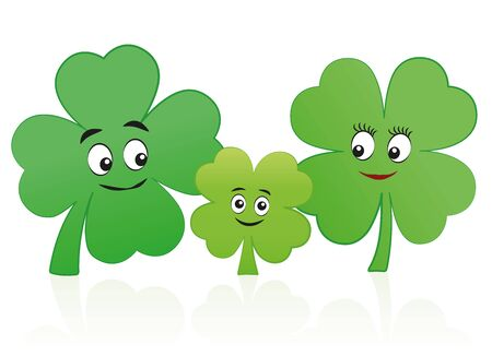 Lucky, happy clover leaf family - mother, father and child with smiling faces - isolated comic vector illustration on white background. Illustration
