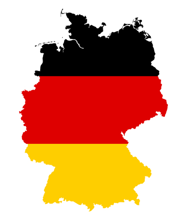 Federal Republic of Germany. Flag in silhouette of the country. Landmass and borders as outline. Colors of the nation. Black, red and yellow stripes.