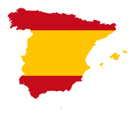 Kingdom of Spain. Flag in silhouette of the country. Landmass and borders as outline. The colors of the nation. Banner with red and yellow stripes. Illustration