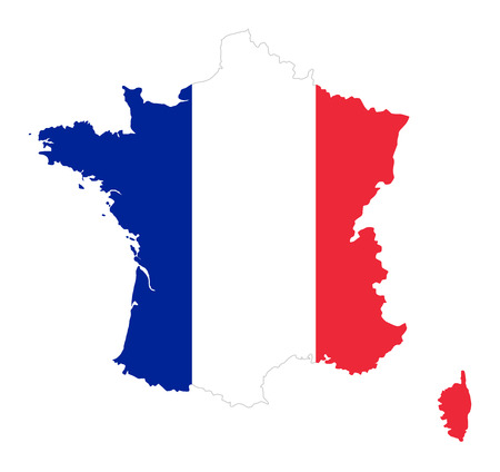 French Republic. Flag in silhouette of France. Country and borders as outline. The colors of the nation. Banner with blue, white and red stripes. Illustration