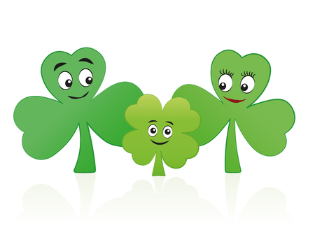 Lucky child - four leaf clover kid with three leaf clover mum and dad - comic vector illustration on white background. Illustration