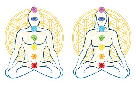 Flower of life, meditating couple in yoga position. Man and woman each with seven main chakras.