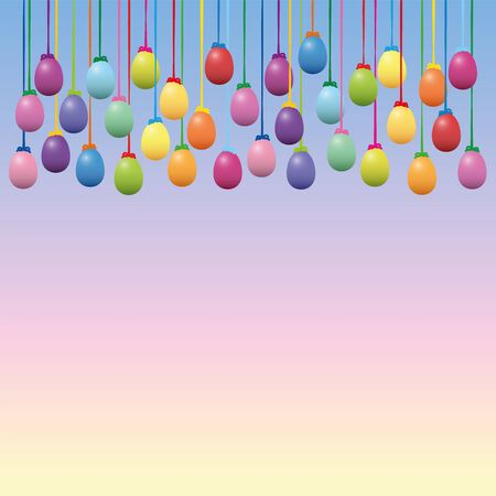 Easter eggs collection. Colorful hanging decoration on blue pink yellow gradient background vector illustration.