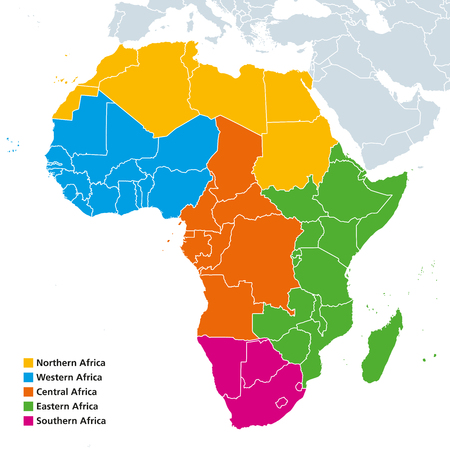 Africa regions political map. United Nations geoscheme with single countries. Northern, Western, Central, Eastern and Southern Africa in different colors. English labeling. Illustration. Vector. Ilustrace