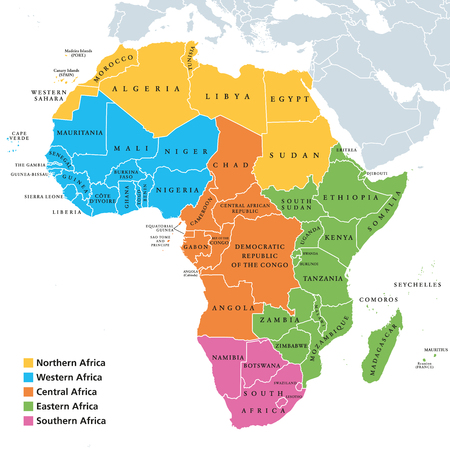 Africa regions political map with single countries, United Nations geoscheme. Northern, Western, Central, Eastern and Southern Africa in different colors. English labeling illustration vector.