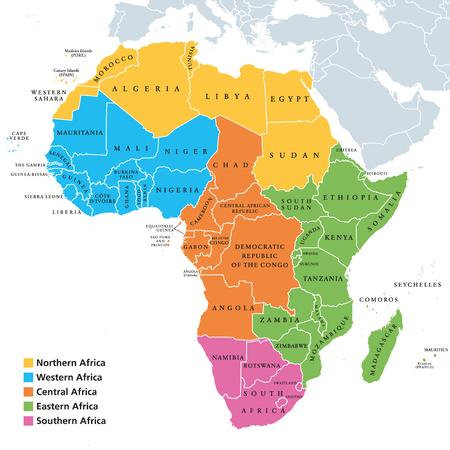 Carte politique des régions de l'Afrique avec des pays uniques, géoschéma des Nations Unies. Afrique du Nord, de l'Ouest, du Centre, de l'Est et du Sud en différentes couleurs. Vecteur d'illustration d'étiquetage anglais. Banque d'images - 95235176
