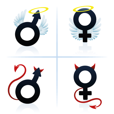 Good and evil man and woman. Male and female angel and devil symbols. Isolated vector illustration on white background. Illustration