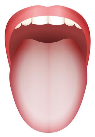 White coated tongue - isolated vector illustration on white background.