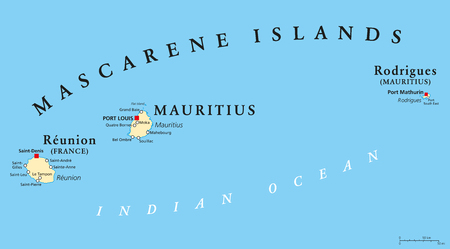 Mascarene Islands political map with capitals, consisting of Mauritius, Reunion and Rodrigues. Mascarenhas Archipelago, a group of islands in the Indian Ocean. English labeling. Illustration. Vector. Stock Illustratie