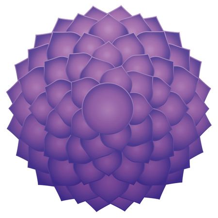 Thousand petaled lotus or purple Sahasraha crown chakra. Spiritual healing symbol isolated vector illustration on white background.