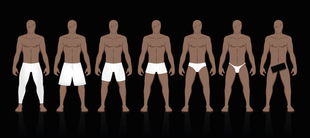 Underpants collection for men. Different models, types, styles, sizes. Long johns, boxer shorts, midway briefs, trunks, briefs, thongs or simply undressed. Male underwear fashion for every taste.