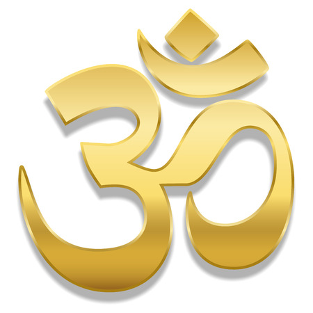 Golden Aum or Om symbol. Spiritual healing symbol of hinduism and buddhism - isolated vector illustration on white background. Foto de archivo - 95218780