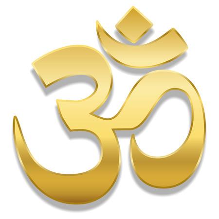 Symbole d'or Aum ou Om. Symbole de guérison spirituelle de l'hindouisme et du bouddhisme - illustration vectorielle isolé sur fond blanc.
