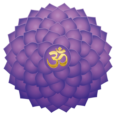 Crown chakra with Aum or Om symbol in the center. Thousand petaled lotus or purple Sahasraha. Spiritual healing symbol - isolated vector illustration on white background.