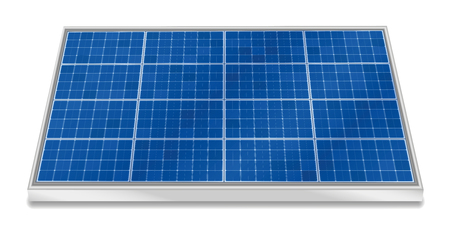 Solar plate collector. Three-dimensional photovoltaic panel, horizontal positioning - isolated vector illustration on white background. Illustration