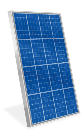 Solar plate collector. Upright three-dimensional photovoltaic panel - isolated vector illustration on white background. Vettoriali