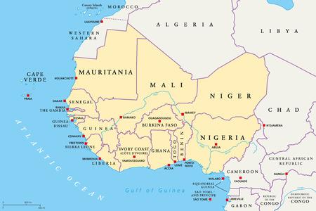 Región de África occidental, mapa político. Zona con capiteles y fronteras. Los países más occidentales del continente africano, también llamados África occidental. Etiquetado en inglés. Ilustración. Vector.