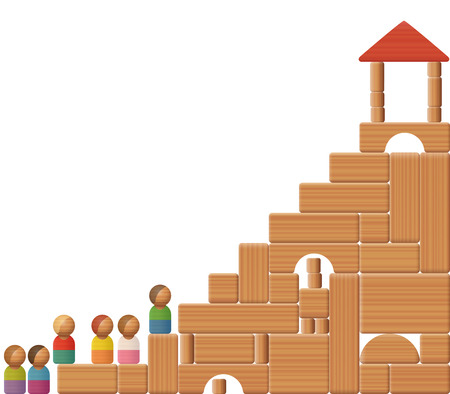 Stairs to success shown with building blocks and toy figures. Symbol for education, career, increase, growth, development, prosperity or victory. Illustration