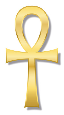 Ankh, also known as key of life, key of Nile, crux ansata - ancient Egyptian hieroglyphic character represents the concept of eternal life. Golden illustration on white background. 向量圖像