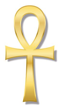 Ankh, también conocida como clave de la vida, clave del Nilo, crux ansata: el antiguo personaje jeroglífico egipcio representa el concepto de vida eterna. Ilustración de oro sobre fondo blanco.