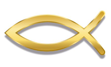 Jesus fish. Golden Christian symbol consisting of two intersecting arcs. Also called ichthys or ichthus, the Greek word for fish. Illustration. Vector.