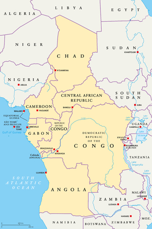 Central Africa region, political map. Area with capitals, borders, lakes and important rivers. Core region of the African continent, also called Middle Africa. English labeling. Illustration. Vector.