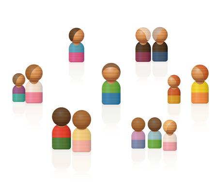 Constellations familiales. Figurines jouets en bois thérapeutiques représentant des proches, des amis et d'autres contacts importants.