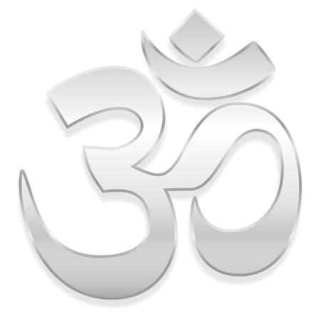 Om or Aum symbol. Spiritual healing silver symbol of buddhism and hinduism - isolated vector illustration on white background. Illustration
