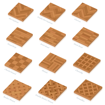 Parquetry. Three-dimensional wooden floor plates. Most popular wood flooring parquets with names - isolated 3D vector illustration on white background. Ilustração