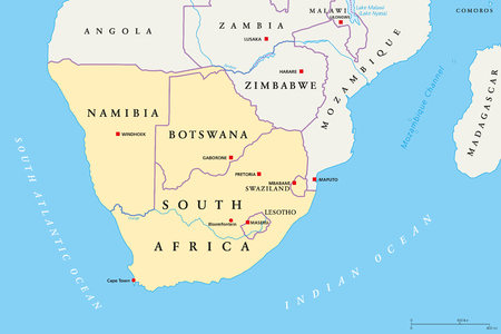 Southern Africa region political map. Southernmost region of African continent.