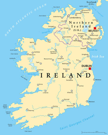 Ireland and Northern Ireland political map with capitals Dublin and Belfast, borders, important cities, rivers and lakes. Island in the North Atlantic Ocean. English labeling. Illustration. Vector. Illustration