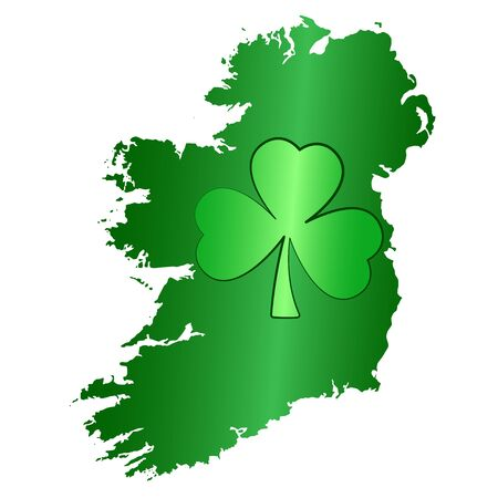 Green shamrock symbol and Ireland island silhouette. Image for Saint Patricks Day, also called Feast of Saint Patrick, celebrated on March seventeen. Isolated illustration, on white background. Vector