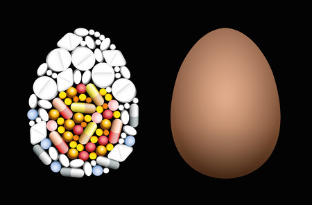 Pills that shape an egg. Symbol for medicine, pharmacy, antibiotics and veterinary healthcare issues - isolated vector illustration on black background. Illustration
