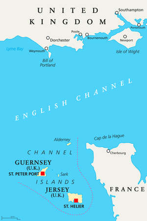 Channel Islands political map. Crown dependencies Bailiwick of Guernsey and Bailiwick of Jersey with capitals. Archipelago off the french coast of Normandy. English labeling. Illustration. Vector.