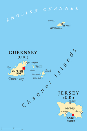 Guernsey and Jersey, political map, with capitals. Channel Islands. Crown dependencies. Archipelago in the English Channel, off the french coast of Normandy. English labeling. Illustration. Vector. Çizim
