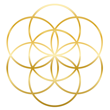 Golden Seed of Life. Precursor of Flower of Life symbol. Unique geometrical figure, composed of seven overlapping circles of same size, forming the symmetrical structure of a hexagon. Stock Illustratie