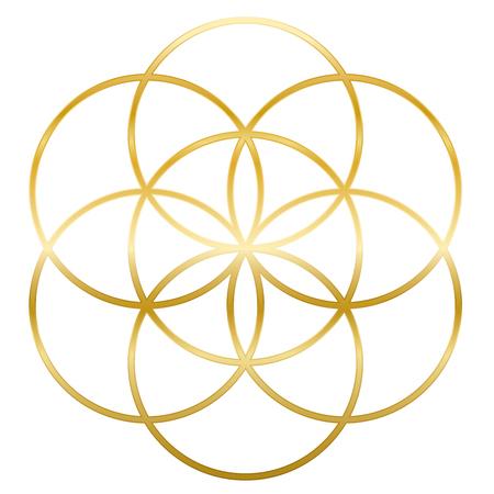 Semilla de oro de la vida. Precursor del símbolo de la flor de la vida. Figura geométrica única, compuesta de siete círculos superpuestos del mismo tamaño, formando la estructura simétrica de un hexágono.