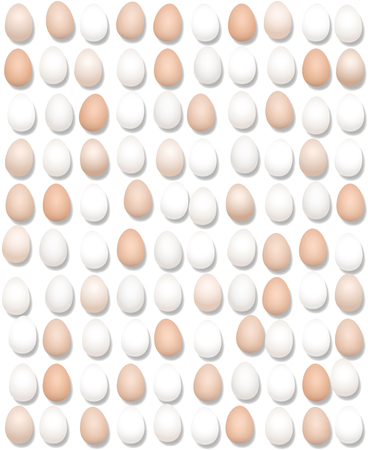 Hundred eggs lined up. Large amount of eggs. Symbolic for excessive egg consumption and for big food business concerning poultry farming. Illustration