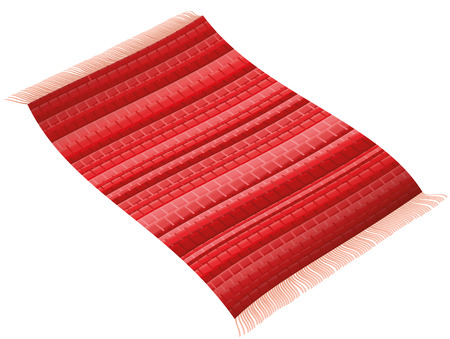 Flying rag rug like a magic carpet. Isolated vector illustration on white background. Stock Illustratie