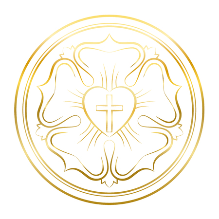 Luther rose symbol. Golden illustration on white background. Martin Luther seal, symbol of Lutheranism, consisting of a cross, a heart, a single rose and a ring.