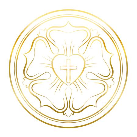 Luther Rosensymbol. Goldene Abbildung auf weißem Hintergrund. Martin-Luther-Siegel, Symbol des Lutheranismus, bestehend aus einem Kreuz, einem Herzen, einer einzelnen Rose und einem Ring. Vektorgrafik