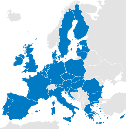 European Union countries. Political map with borders. All 28 EU members colored in blue. Political and economic union in Europe. Isolated illustration on white background. Vector.