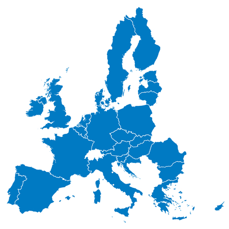 European Union, isolated on white background, with all single countries. All 28 EU members, colored in blue. Political and economic union in Europe. Illustration. Vector.