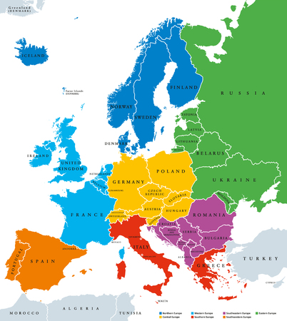 Regions of Europe, political map, with single countries and English labeling. Northern, Western, Southeastern, Eastern, Central, Southern, Southwestern Europe in different colors. Ilustração Vetorial
