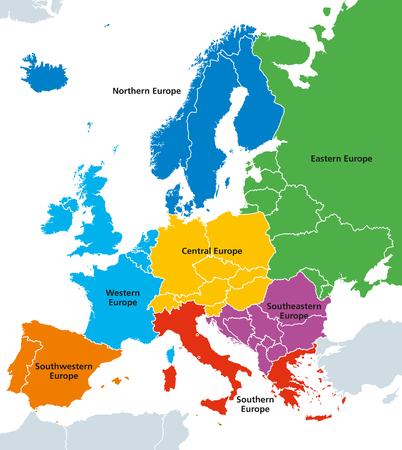 Régions d'Europe avec pays uniques. Étiquetage anglais. Vecteur d'illustration.