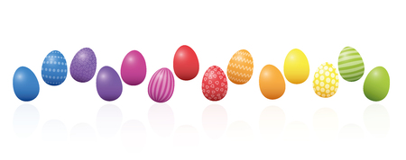 Easter eggs. Colorful line, loosely arranged, different colors and patterns. Rainbow colored three-dimensional isolated vector illustration on white background.