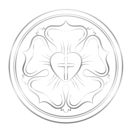 Luther symbol. Symbol of Lutheranism and protestants, consisting of a cross, a heart, a single rose and a ring - isolated silver vector illustration on white background.