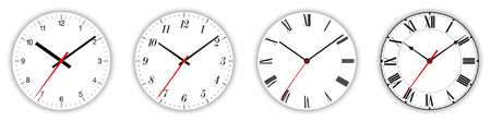 Four different clock faces over white, with regular, italic and fraktur numerals. Parts of analog clocks, or watches. Displays time through the use of a dial and moving hands. Illustration. Vector. Ilustrace