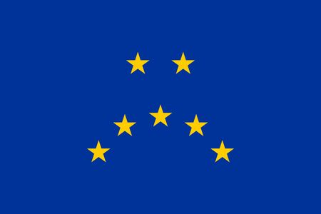 Sad face, made of the European Union flag. Representation of a unhappy face, made of seven yellow five-pointed stars of the European flag, with blue background. Illustration. Vector.